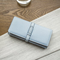 新款2018新款钱包女长款 韩版时尚简约抽带两折女士钱夹学生皮夹 蓝色