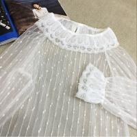 美美的夏夏 搭配�A�I毛衣超�厝岬纳�女系白色花��r衫女蕾�z上衣 米白色