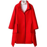 红色毛呢外套女2018冬季新款韩版流行中长款宽松加厚大码呢子大衣