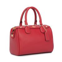 包包女2018新款真皮波士顿女包大容量单肩时尚手提包斜挎枕头包包 大红色 (平纹)