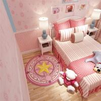 儿童房卡通地毯地垫可爱百变小樱魔法阵地毯卧室圆形粉色公主少女小樱卡通网红拍照地垫