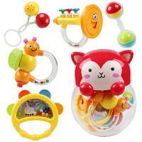 摇铃玩具新生婴儿摇铃手抓玩具0-1岁宝宝牙胶手摇铃奶瓶套装