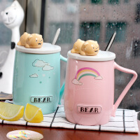包邮 3D立体卡通马克杯 趴趴熊动物陶瓷杯 带盖带勺马克杯咖啡牛奶儿童创意杯子