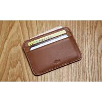 LAN男士小卡包牛皮零钱包商务卡夹门禁卡套证件套银行卡 棕色 平纹