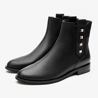 【全场3折】PITTI DONNA秋冬圆头套筒简约时尚短筒靴女切尔西靴8T32801