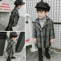 男童呢子外套宝宝装夹棉风衣儿童格子呢大衣女童婴儿加厚外出服 图片色