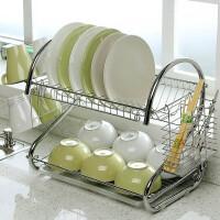 厨房用品多功能S型双层碗碟架 碗架9字型碗架餐具架/厨房收纳双层置地接水盘碗柜筷筒杯子架