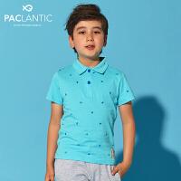 派克兰帝品牌童装 夏装男童印花短袖POLO衫 男童POLO短袖T恤