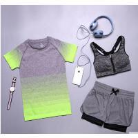女夏速干显瘦跑步健身服运动背心短裤上衣三件 套瑜伽服套装