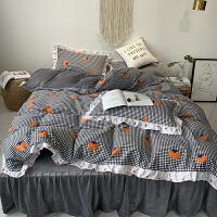 君别冬季加绒四件套加厚保暖珊瑚绒水晶绒被套公主风床罩床裙床品 2.0米床(使用2.2*2.4米被芯) 床裙款