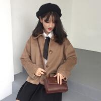 秋冬女装新款韩版宽松翻领短款毛呢外套小个子呢子大衣学生潮