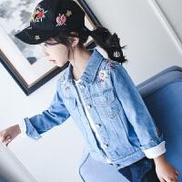 女童牛仔外套秋装薄款2017新款中大童牛仔开衫夹克韩版百搭上衣潮 蓝色