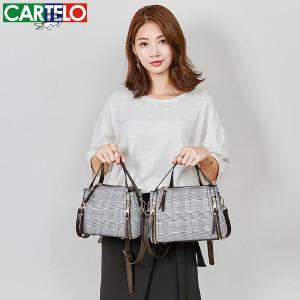 卡帝乐小包包女 新款潮韩版百搭斜跨格纹水桶包 简约少女单肩包