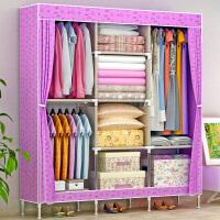 蜗家简易衣柜 大号布衣柜钢管加粗加固钢架衣橱布艺折叠收纳柜1383