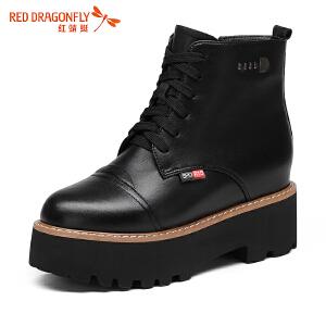 红蜻蜓女靴时尚系带马丁靴女厚底保暖内增高短靴女