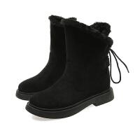 2018冬季新款雪地靴女士马丁短靴短筒平底韩版学生百搭加绒靴子潮 黑色 【加厚绒】