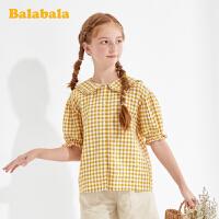 【5折价:84.5】巴拉巴拉童装女童短袖衬衫儿童衬衣2020新款夏装中大童格纹时尚潮