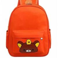新款厂家订做幼儿园书包中大班学前班书包印字广告LOGO定制 桔红色 升级小熊