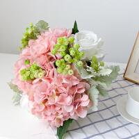 玫瑰仿真花束绣球假花客厅装饰房间的小饰品摆件ins北欧餐桌花艺 粉红色 花束