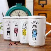 包邮 时尚服装展示陶瓷杯 卡通人物创意马克杯 咖啡杯 带盖带勺