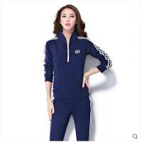 新款时尚休闲运动套装女秋季立领长袖卫衣运动服 女装套装