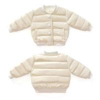 韩版女婴儿童羽绒棉厚0-1周岁男宝宝季外套2-3小童米白上衣 米白色棉衣