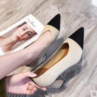 百搭尖头中跟单鞋女鞋新款浅口鞋女高跟鞋粗跟职业工作鞋