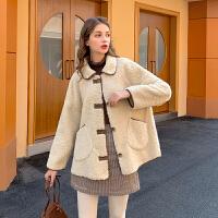 MG小象羊羔绒外套女冬棉衣加厚2019新款宽松韩版短款仿羊羔毛上衣