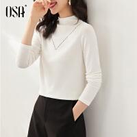 【3折折后价:129元】OSA欧莎2021年秋季新款简约时尚长袖半高领纯色T恤女