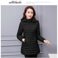 棉衣服女中长2018新款冬季外套韩版宽松加肥加大反季轻薄羽绒棉袄 XL 85-99斤