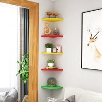 墙上置物架书架壁挂客厅免打孔墙角转角卧室厨房三角扇形装饰隔板