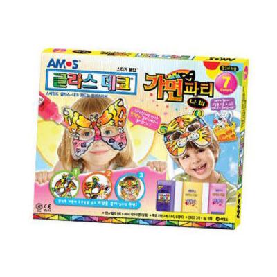 韩国原装amos儿童手工胶画安全无毒玻璃画胶画笔diy面具蝴蝶老虎