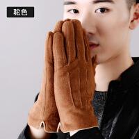 手套男韩版冬天保暖分指触屏加绒开车防风加厚五指分指冬季骑车
