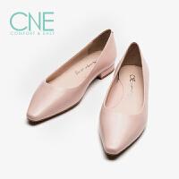 CNE2019春夏新款船鞋温柔鞋日系尖头低跟奶奶鞋女单鞋AM10802