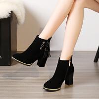 流苏靴短靴女粗跟高跟鞋女秋冬新款学生马丁靴磨砂韩版百搭短筒靴