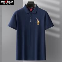 满198减50 伯克龙 长袖Polo男式翻领刺绣t恤青年中年男装商务休闲保罗衫A8902