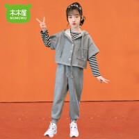 【3件2折�r133元】木木屋女童秋冬套�b2020新款洋�饩W�t小女孩冬季�r髦加厚�l衣�和�三件套