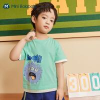 迷你巴拉巴拉男童短袖T恤2021夏季新款纯棉学院风怪兽图案短袖T恤