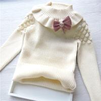 01-2-3-4岁女童套头毛衣女宝宝加绒加厚高领打底衫婴儿童针织衫