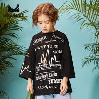 【折后价:50.4】巴拉旗下巴帝童装男童女童黑色宽松中袖T恤19春新款儿童嘻哈街