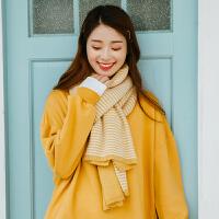 围巾女冬季韩版百搭仿羊绒学生软妹保暖加厚条纹双面情侣围脖披肩