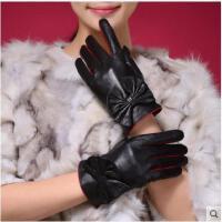 羊皮手套潮款时尚女士真皮手冬季保暖手套蝴蝶结分指手套