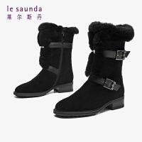 莱尔斯丹 时尚加绒保暖舒适圆头小星星搭扣兔毛短靴女靴LS AT43502V