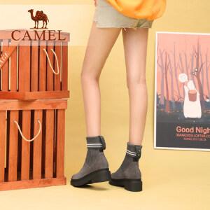 骆驼女鞋2018新款短靴女冬季保暖短筒女靴子袜子鞋方跟弹力袜靴女