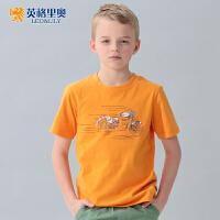 英格里奥夏装新款短袖T恤休闲儿童纯棉半袖上衣圆领打底衫LLB9523