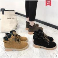 冬季新款平底复古系带马丁靴女加绒英伦风机车靴低跟短靴女鞋