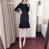 黑色针织连衣裙春装2018新款女裙子修身长袖名媛复古中长款鱼尾裙 神秘黑小礼服