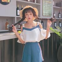 夏季新款韩版荷叶边短袖露肩吊带雪纺衫套装女休闲短裤两件套