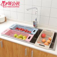 白领公社 厨房置物架 麦秸秆家用厨房通用大号沥水篮蔬果碗碟滴水架伸缩碗筷收纳水槽架
