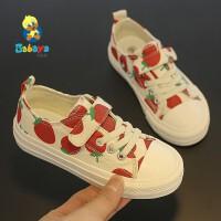 【折后到手�r:49元】芭芭��女童帆布鞋�W�t鞋2020新款秋季�和�布鞋草莓鞋板鞋�n版潮鞋